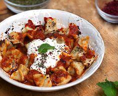 Turkish Manti - Tiny lamb-filled dumplings with butter, tomato, yogurt and Turkish spices