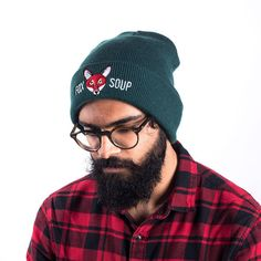 Keep yourself warm with our Bottle Green Original Fox Soup Beanie! With a red embroidered fox you'll stand out from the crowd! Winter Hats, Fox, Beanie, The Originals, Trending Outfits, Bottle, Green, Unique, Clothes
