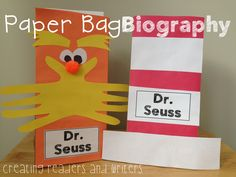 """Paper Bag Biography Project for Dr. Seuss: This project tucks neatly inside a paper bag and includes fun facts, a """"talk-show"""" reader's theater, a timeline mini-book, and more! Two options for bag design are shown. (Grades 1-2) #drseuss #biography $"""