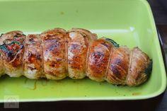 Rulada din muschiulet de porc, cu legume - CAIETUL CU RETETE Baked Potato, Sausage, Potatoes, Meat, Baking, Ethnic Recipes, Pork, Sausages, Potato