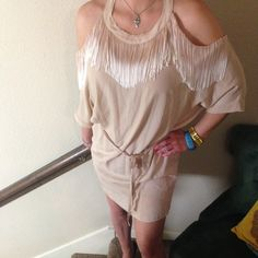 BCBGIRLS Dress BoHo Chic. BCBGirls Dress. Fringed Detailing. Excellent Condition. Size Medium. No trades. Perfect for a night out on the town and goes with so much your options are limitless BCBG Dresses Midi