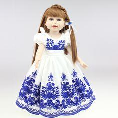 Neue Vinyl Amerikanische Prinzessin 45 cm Mädchen Puppe 18 Zoll Nette Realistische Baby Geburtstagsgeschenk Handgemachte Kleid Silikon Reborn Baby DIY Bjd