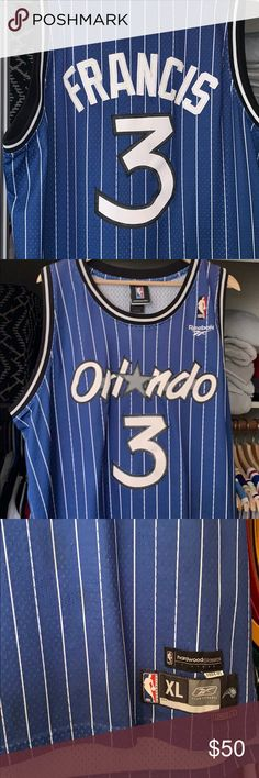 6060527a24c Nba reebok Steve Francis Orlando Magic Jersey Light fading on front logo  see pix Reebok Other