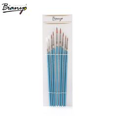 Set Of 10 Plastic Multifunctional Nylon Paint Brushes Sky Blue