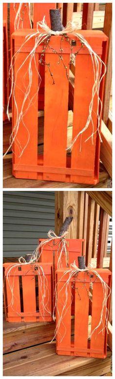 DIY Wood Crate Pumpkins ~ Easy and super cute!