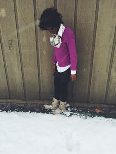 Snow Day | Baydian Girl | casual winter outfit | pink sweater, scarf, leather skirt, combat boots