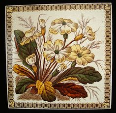 Victorian Brown Transferware Tile ~ PRIMROSE 1886