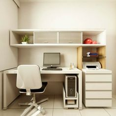 Alluring modern home office desks with modern small white desk with drawer and hanging shelf plus chair