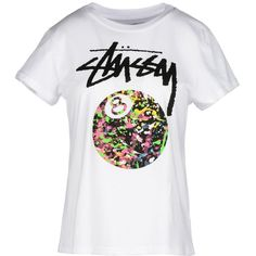 Stussy T-shirt ($35) ❤ liked on Polyvore featuring tops, t-shirts, white, cotton jersey, white short sleeve t shirt, white cotton tee, white top and stussy t shirts
