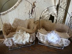 ?burlap and lace wedding decorations | Chicken wire baskets Burlap lace and fabric flowers girl baskets ...