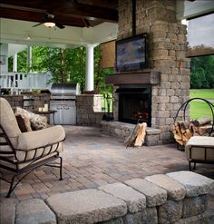 Love this outdoor living room! Recreate the Outdoor Kitchen and seating area at www.outdoorrooms.com