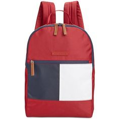 Tommy Hilfiger Colorblock Flag Nylon Backpack ($78) ❤ liked on Polyvore featuring bags, backpacks, tommy red, padded laptop backpack, tommy hilfiger, nylon laptop bag, backpack laptop bags and padded backpack