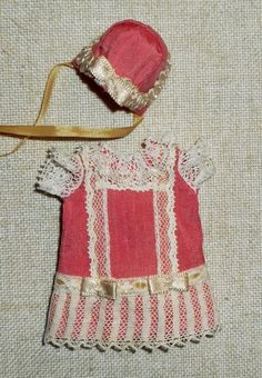 Antique style outfit pink natural silk for mignonette or tiny antique doll