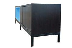 Sideboard in Eiche geräuchert mit hellblauer Nischer Sideboard, Cabinet, Storage, Furniture, Home Decor, Oak Tree, Clothes Stand, Purse Storage, Decoration Home
