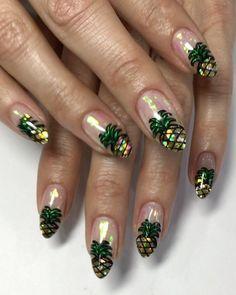 Pineapple glass nail art summer 12 Unique trending nail art designs for 2017