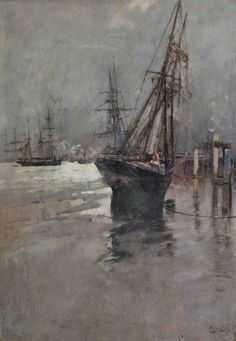 Frank Brangwyn - A Ship Beached at Low Tide ~ The Newlyn School was an art colony of artists based in or near Newlyn, a fishing village adjacent to Penzance, Cornwall, from the 1880s until the early twentieth century.