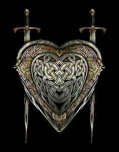 Here you can see a great example of a Celtic swords and a shield. These would look great on Celtic warrior characters. Celtic Symbols, Celtic Art, Celtic Dragon, Celtic Knots, Art Scandinave, Viking Sword, Viking Garb, Celtic Culture, Templer