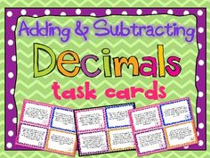 Adding and Subtracting Decimals Task Cards with Word Problems.  32 Cards with recording sheet and answer key!  $