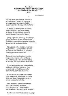 Canto de Vida y Esperanza,(1905), obra de Rubén Darío
