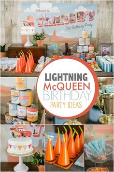 Is there a little car enthusiast at your house? Bet he'd like this Lightning McQueen themed boy's birthday party.
