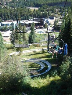 Alpine Slide in Winterpark, Colorado. When the snow melts, head to Winterpark Resort and take a ride on the Alpine Slide. Ride the lift up, take the sled ride down.