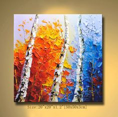 Merveilleux Contemporary Wall Art, Palette Knife Painting,colorful Tree Painting,wall  Decor ,Home Decor,Acrylic Textured Painting ON Canvas By Chen 111n