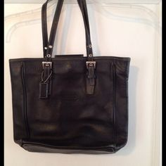 """% Authentic Black Leather Coach Handbag Authentic black leather handbag/book tote. Silver hardware, black lining. Gently used with signs of wear on bottom corners (see last picture). 11"""" Tall, 9.5"""" Wide, 3.5"""" Deep, 20"""" Long Strap. Front snap closure at top. 2 interior wall open pockets & large zipper pocket. No Trades No Paypal Discounts on Bundles Coach Bags"""