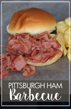 Pittsburgh Ham Barbecue Sandwiches – Marguerites Cookbook Chipped chopped ham is a Pittsburgh tradition and one of those unique regional things you just can't find anywhere else. This recipe packed a lot of flavor! Ham Sandwich Recipes, Soup And Sandwich, Pork Recipes, Cooking Recipes, Chicken Sandwich, Grilling Recipes, Amish Recipes, Barbecue Recipes, Barbecue Sauce