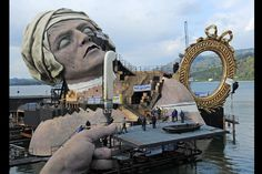 The scenery for the opera 'Andrea Chenier' by Italian musician Umberto Giordano on the floating stage at the Bregenz Festival in Bregenz, Austria, April 13,2011.