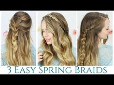 3 Quick and Easy Spring Braids - YouTube. The rope braided headband is really cute!