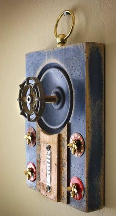 Coat Rack Wall Hanger Garden Faucet Handle Blue by GadgetSponge, Diy Projects Shelves, Initial Wall Art, Plinth Blocks, Garden Deco, Found Object Art, Faucet Handles, Funky Junk, Wall Organization, Knobs And Pulls
