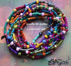 Bracciale elasticizzato arcobaleno Hippie impostare totale 10