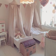 mini paper lanterns could look cute with stars in the windows? And love that light fixture! Little Girls Playroom, Kids Room, Toddler And Baby Room, Toddler Bed, Girl Bedroom Designs, Girls Bedroom, Shared Rooms, Daughters Room, Little Girl Rooms