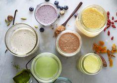 Flavored nut milks: vanilla spice, blueberry, goji, matcha, raw cacao and tuermic