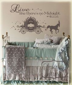 Cinderella Carriage vinyl wall art sticker with Live like there's no Midnight vinyl wall quote -Choose your own Color via Etsy. I LOVE this! Girl Nursery, Girl Room, Girls Bedroom, Nursery Ideas, Themed Nursery, Nursery Themes, Room Ideas, Bedrooms, Vinyl Wall Quotes