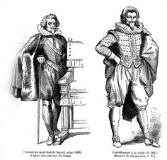 Portrait of Marshal de Souvre, before 1620, from an engraving of the time.   Gentleman in the fashion of 1627 (Quicherat)  | costumes.org