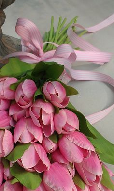 Beautiful bouquet of pink tulips with pink ribbon. My Flower, Pretty In Pink, Beautiful Flowers, Deco Floral, Arte Floral, Pink Tulips, Pink Flowers, Bloom, Color Splash