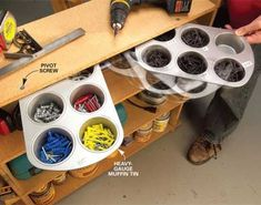 "Garage Storage on a Budget • Ideas and tutorials, including this ""muffin tin storage"" by 'Family Handyman'..."