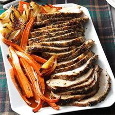 Italian Herb-Crusted Pork Loin Recipe -I like to change things up during the holidays with pork loin recipes that incorporate my favorite herbs and veggies. This showpiece dish really dazzles my family. Pork Tenderloin Recipes, Pork Roast, Pork Recipes, Cooking Recipes, Cooking Pork, Healthy Recipes, Best Christmas Recipes, Christmas Dishes