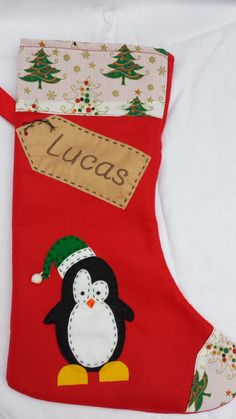 Personalised Christmas Stocking  Handmade Red by MargaridaWorkshop