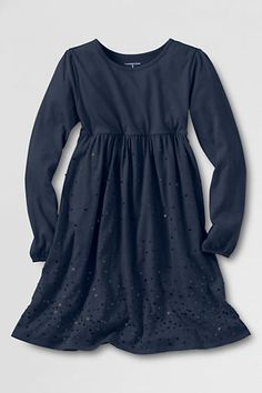 Girls' Long Sleeve Sparkle Knit Dress from Lands' End