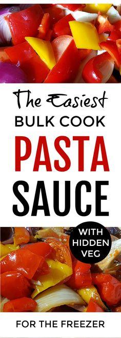 bulk cook pasta sauce - the easiest ever pasta sauce - with hidden veg - to bulk cook for the freezer  #easyrecipe #familydinner #pasta #freezermeals #healthyfood