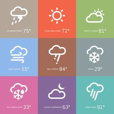 A set of weather app icons designed for optimal readability and simplicity. The minimal designs quickly and easily inform the user of what the weather conditions are with simple shapes and clean lines.