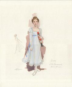 Costume and set designer Robert Perdziolas sketch of Clara in the reworked Nutcracker for Boston Ballet. (ROBERT PERDZIOLA)