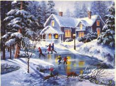 A Fine Winter's Eve by Nicky Boehme from the Winter Art Prints Collection at Canvas On Demand. Contemporary artwork of children skating on a frozen pond in front of a house after a snowfall. Christmas Scenes, Christmas Pictures, Christmas Art, Winter Christmas, Winter Szenen, Winter Love, Pintura Exterior, Winter Wonderland Theme, Illustration Noel