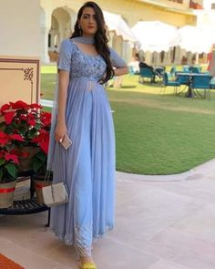 Over the years I have learned that what is important in a dress is the woman who is wearing it 💙 Outfit by Mua… Party Wear Indian Dresses, Pakistani Dresses Casual, Designer Party Wear Dresses, Indian Gowns Dresses, Kurti Designs Party Wear, Dress Indian Style, Indian Fashion Dresses, Indian Wedding Outfits, Indian Designer Outfits
