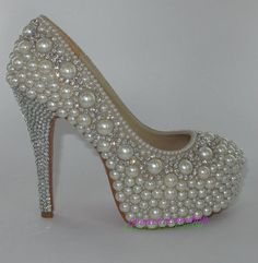 High Heels Bridal Shoes Pearl swarovski Crystals by CreatorLeeshop, $150.00