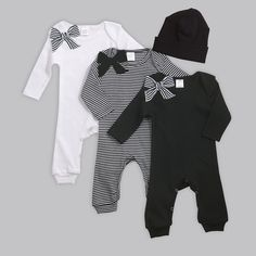 Newborn Girl Take Home Romper and Optional Hat. Baby girl will look picture perfect in these 100% cotton rib long sleeve rompers and hats. Easy pull on rompers have bow at shoulder and snaps at bottom for changing ease. Soft and stretchy cap keeps noggin warm! Black, White & Stripes You can order the rompers alone or with the coordinating hat. ------Sizes------ Newborn fits 5-8 lbs, up to 21.5 tall 0-3 months fits 8-14 lbs, 21.5-24 tall 3-6 months fits 14-18 lbs, 24-26.5 tall 6-12 months…