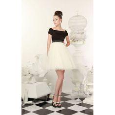 Boat Neck Short Wedding Dress with Color - Star Bridal Apparel, #boatneck, #short, #balce&white, #color, #wedding, #dress, #bridal, #ballgown