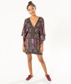 vestido manga canteiro etnico